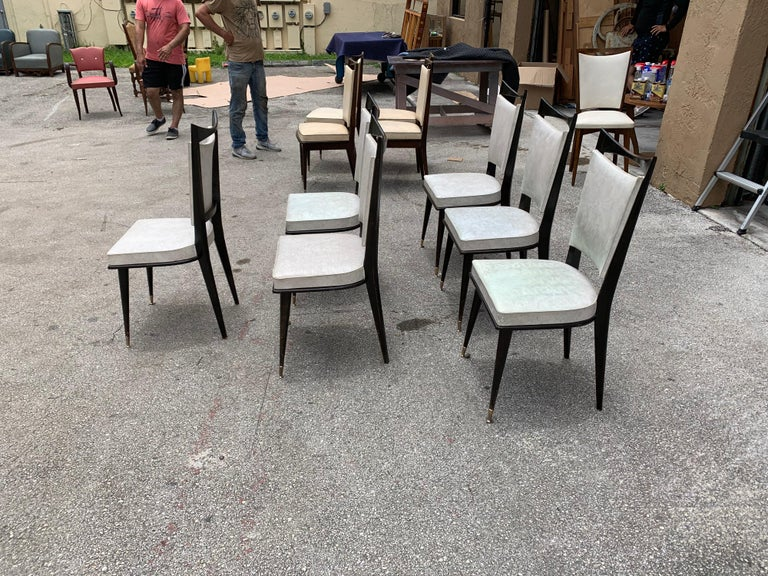 Set of 6 French Vintage Solid Mahogany Dining Chairs, 1940s In Good Condition In Hialeah, FL