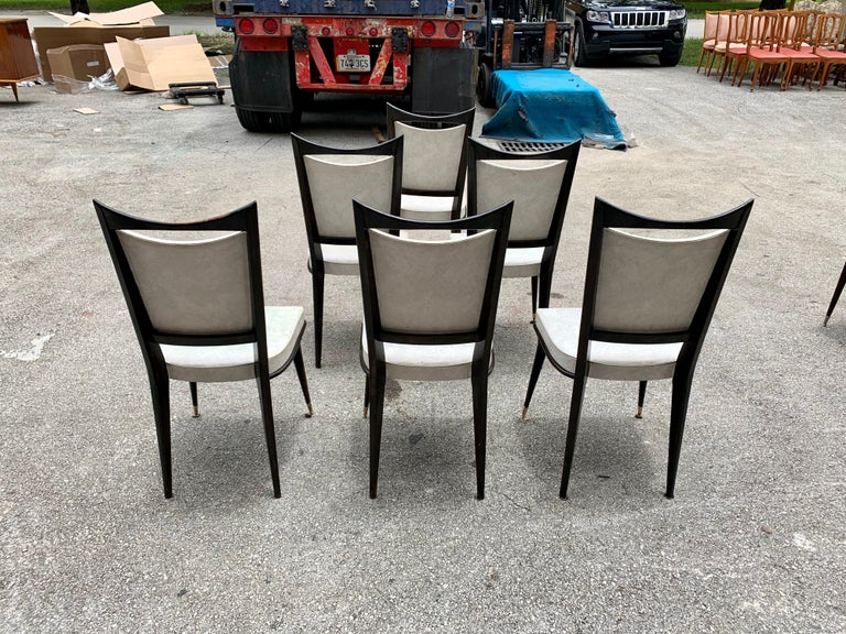 Brass Set of 6 French Vintage Solid Mahogany Dining Chairs, 1940s