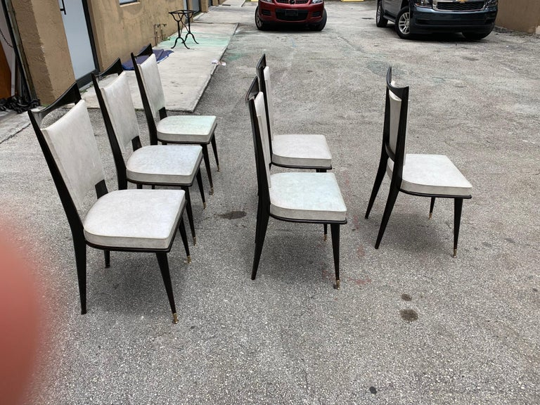 Set of 6 French Vintage Solid Mahogany Dining Chairs, 1940s 1