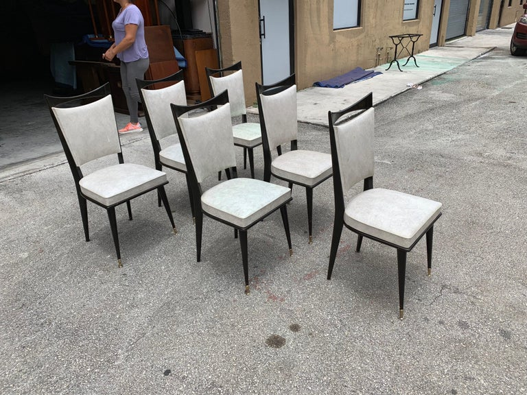 Set of 6 French Vintage Solid Mahogany Dining Chairs, 1940s 2