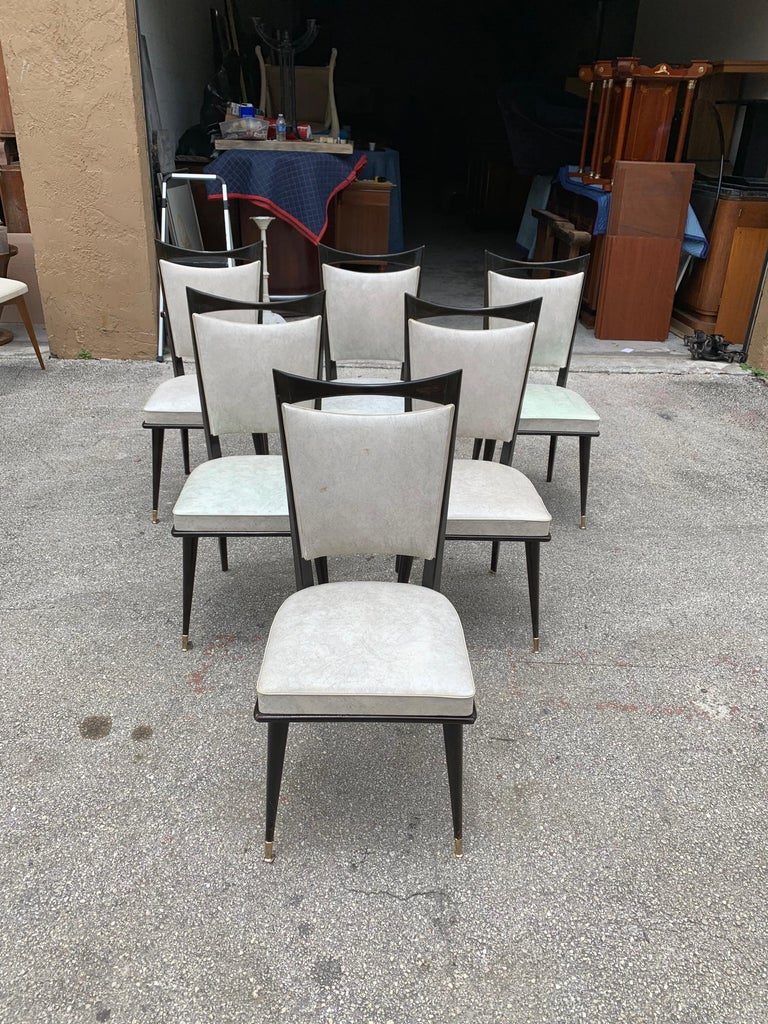 Set of 6 French Vintage Solid Mahogany Dining Chairs, 1940s 3