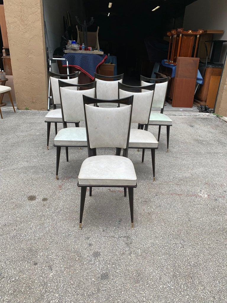 Set of 6 French Vintage Solid Mahogany Dining Chairs, 1940s 4