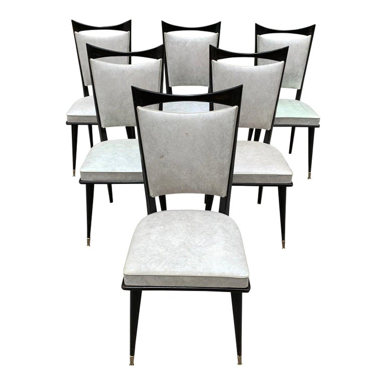 Set of 6 French Vintage Solid Mahogany Dining Chairs, 1940s