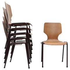Set of 6 Fritz Hansen Style Wingback Stacking Dining Chairs