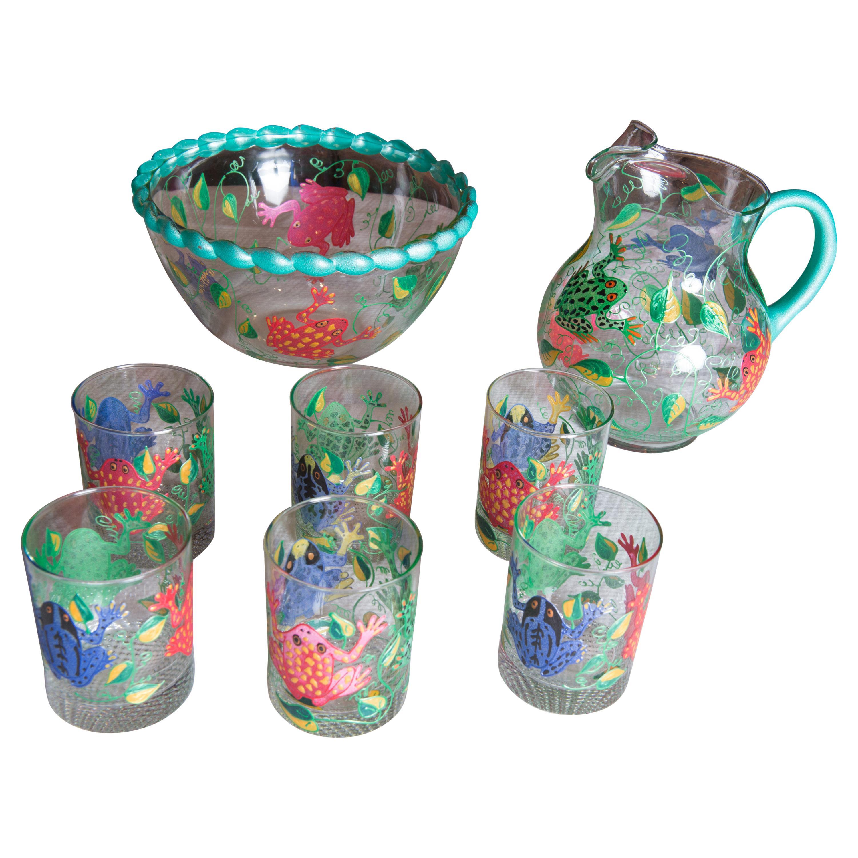 Set of 6 Frog Glasses, Bowl, Pitcher