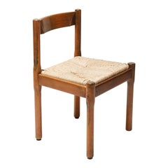 Set of 6 Fruitwood Dining Chairs by Vico Magistretti