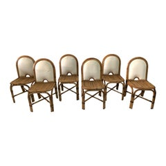 "Set of 6 Gabriella Crespi ""Rising Sun"" Bamboo Dining Chairs"