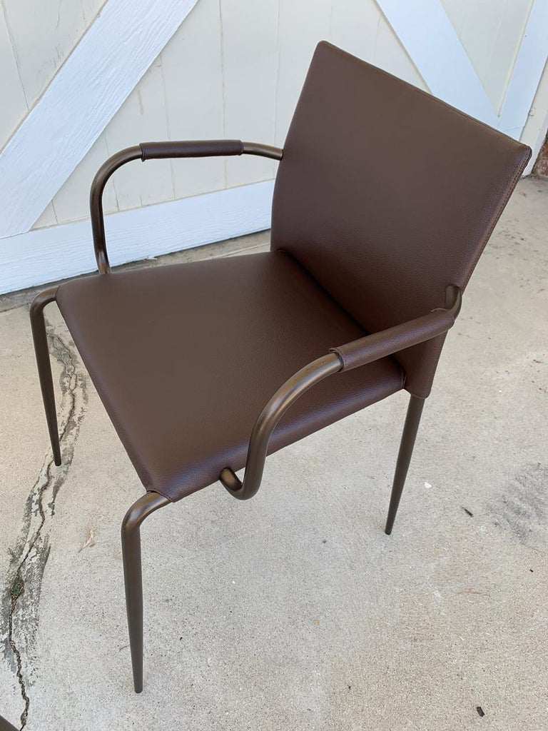 Metal Set of 6 Gazzella Armchairs by Tom Kelley for Enrico Pellizzoni For Sale
