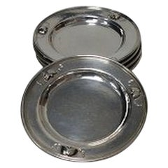 Set of 6 Georg Jensen Sterling Silver Glass Coasters No 428 D