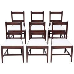 Set of 6 Georgian Mahogany Dining Chairs, 19th Century