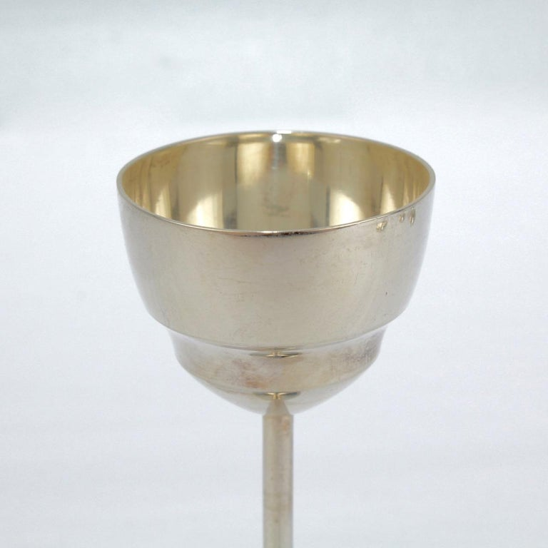 Women's or Men's Set of 6 German Art Deco .800 Solid Silver Cordial or Liquor Glasses For Sale