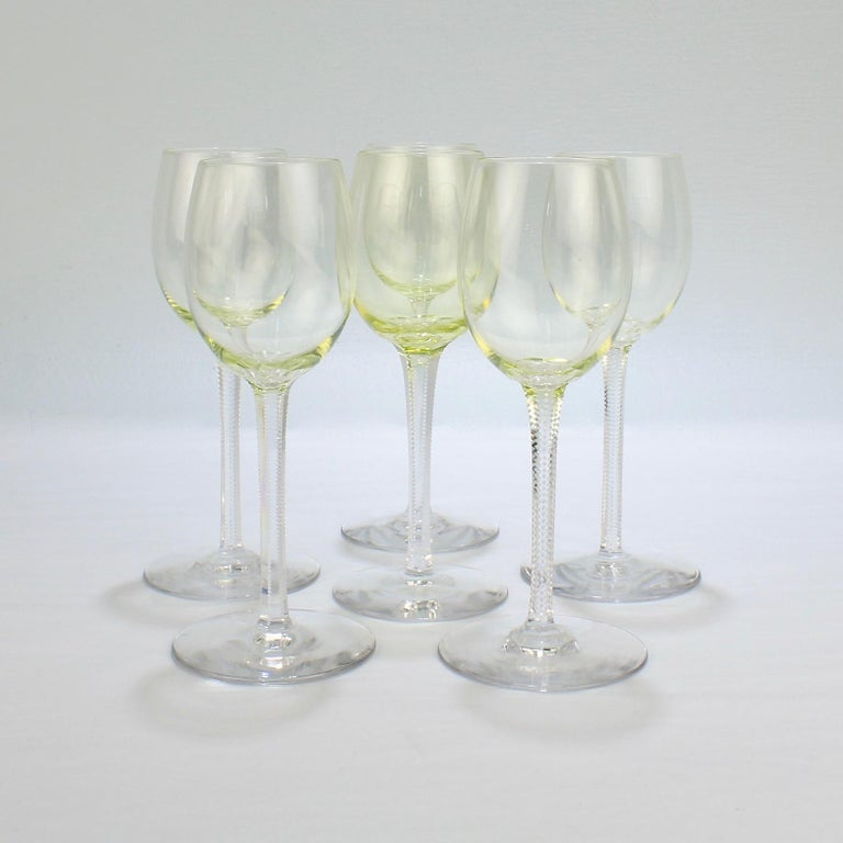 Set of 6 German or Austrian Art Nouveau Yellow Glass Wine Stems or Goblets In Good Condition For Sale In Philadelphia, PA