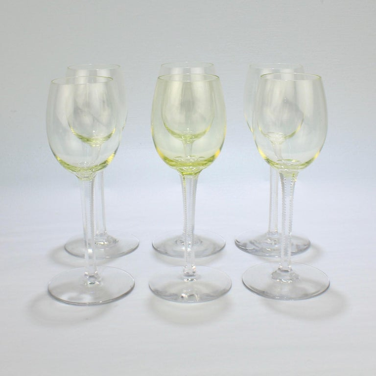 20th Century Set of 6 German or Austrian Art Nouveau Yellow Glass Wine Stems or Goblets For Sale