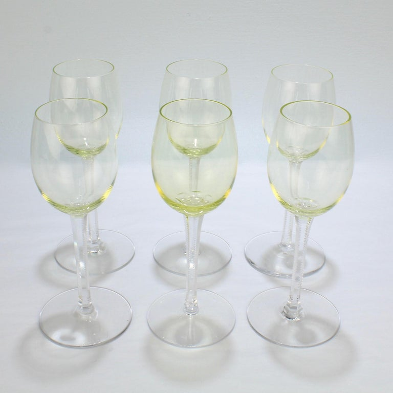 Blown Glass Set of 6 German or Austrian Art Nouveau Yellow Glass Wine Stems or Goblets For Sale