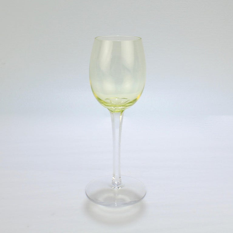 Set of 6 German or Austrian Art Nouveau Yellow Glass Wine Stems or Goblets For Sale 1