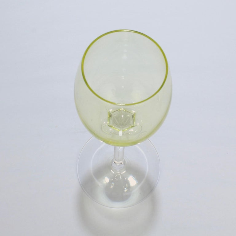 Set of 6 German or Austrian Art Nouveau Yellow Glass Wine Stems or Goblets For Sale 3