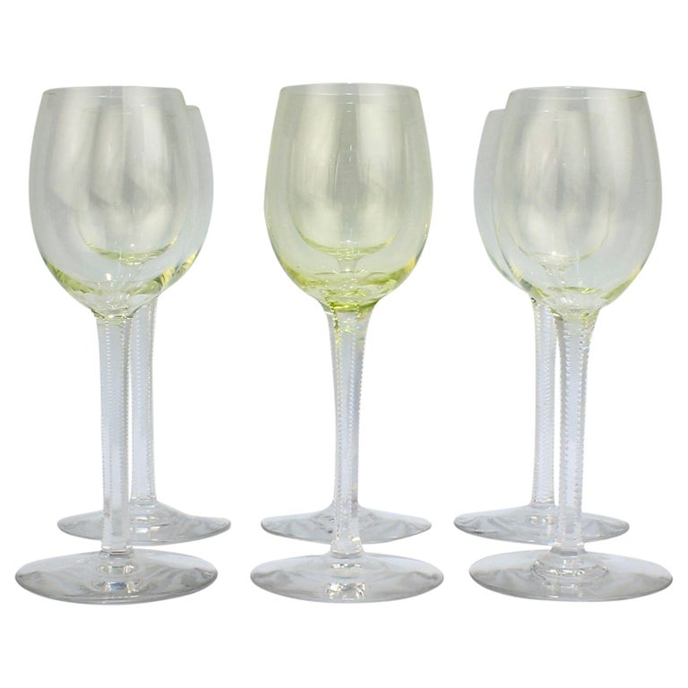 Set of 6 German or Austrian Art Nouveau Yellow Glass Wine Stems or Goblets For Sale