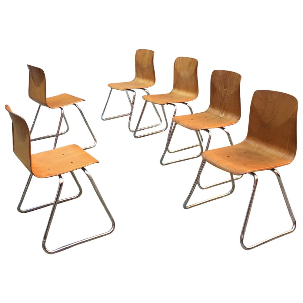 Set of 6 German Vintage Light Wood and Chromed Steel Pagholz Chairs, 1960s