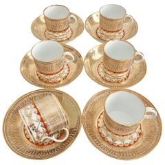 Set of 6 Gilded Coffee Cans, Thomas Rose Coalport, circa 1815