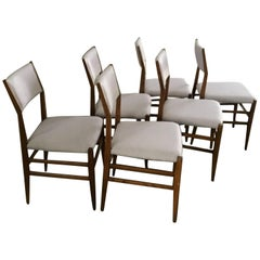 Set of 6 Gio Ponti Leggera Model 646 Chairs Wood 1950 for Cassina, Italy