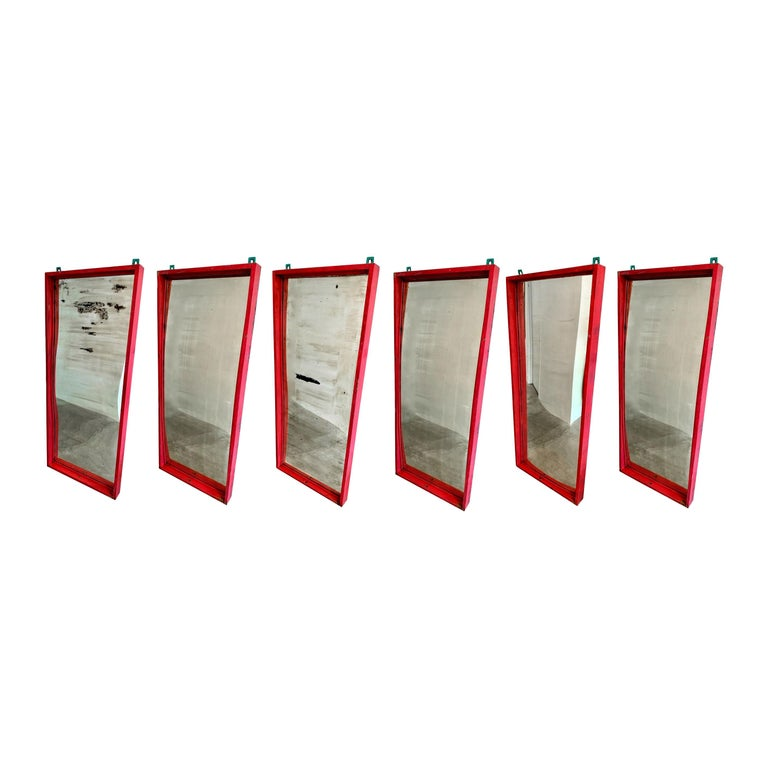 Set of 6 Glass Carnival Mirrors For Sale