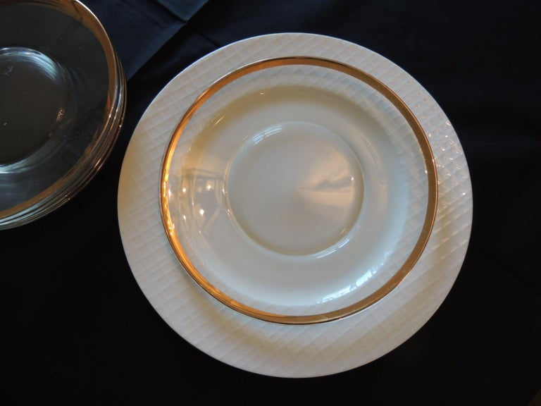 Bohemian Set of 6 Glass Round Clear Dessert Plates with Gold Rim For Sale