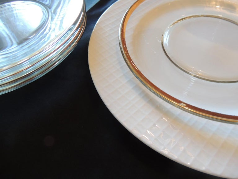 Asian Set of 6 Glass Round Clear Dessert Plates with Gold Rim For Sale