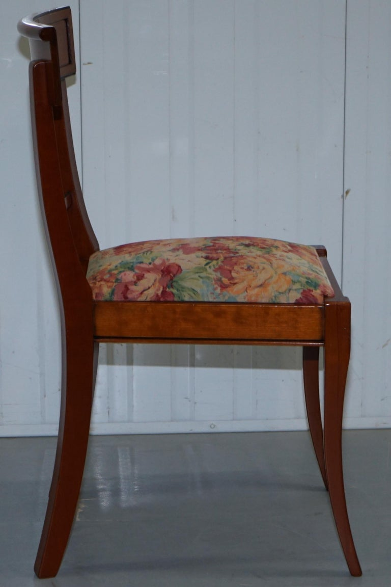 Set Of 6 Grange France Solid Cherry Wood Dining Chairs