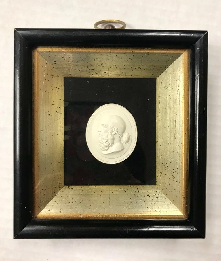 Framed, 6 different, Greco-Roman plaster intaglios mounted on black velvet, Victorian black and gold frame protected in shadowbox. Plaster intaglios were originally collected by wealthy tourists as travel souvenirs from European vacations.