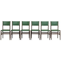 Set of 6 Green and Palissander Leggera Chairs by Gio Ponti Cassina 1950