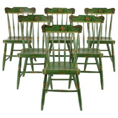 Set of 6 Green Plank-Seaded Spindle-Back Chairs with Rose Decoration