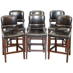 Set of 6 Halo Springfield  Brown Leather Oak Counter Bar Kitchen Stools
