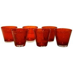 Set of 6 Hand Blown Murano Red Cased Bubble Controlled Cocktail Drinks Glasses