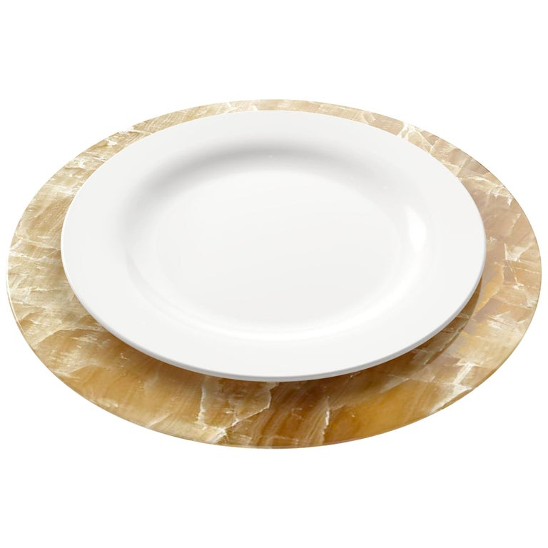 Set of 6 Hand Carved Charger Plates in Amber Onyx Design by Pieruga Marble For Sale