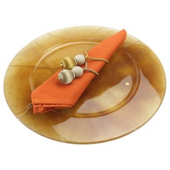 Set of 6 Hand Carved Charger Plates in Amber Onyx Design by Pieruga Marble