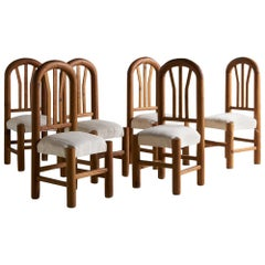 Set of 6 Hand Carved Wooden Dining Chairs