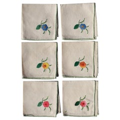 Set of 6 Hand Embroidered Floral Cloth Dinner Napkins in Blue Green Pink Orange
