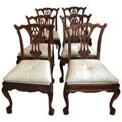 Set of 6 Handsome Chippendale Style Dining Side Chairs
