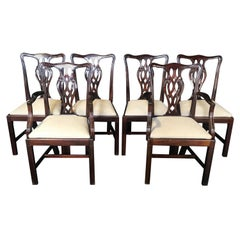 Set of 6 Handsome Fine English Chippendale Style Dining Chairs