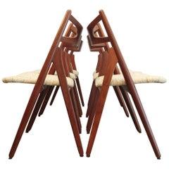 Set of 6 Hans J. Wegner Sawbuck Chair CH 29 in Teak for Carl Hansen, 1960s