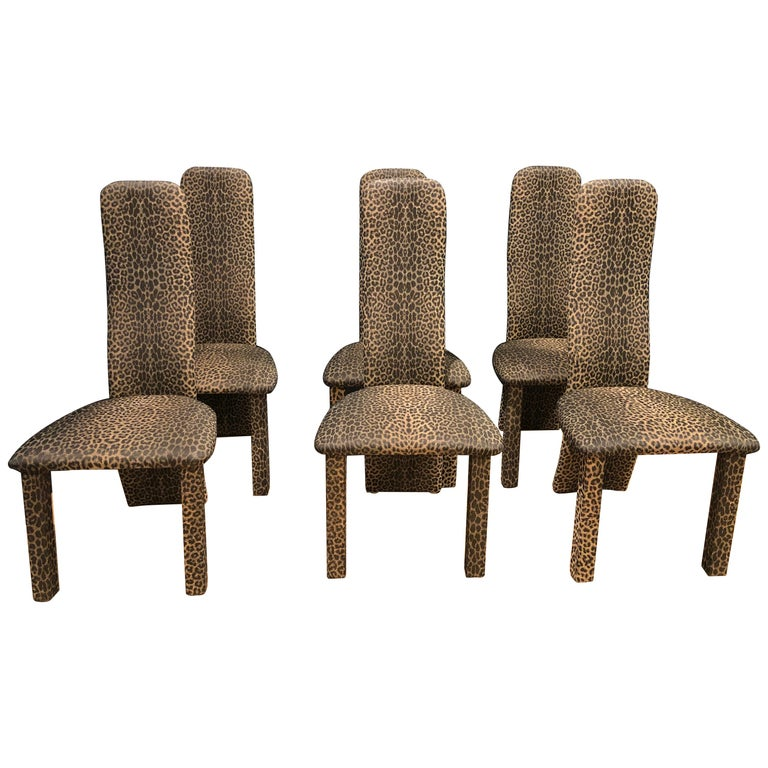 Set of 6 Leopard Print High back Dining Chairs For Sale