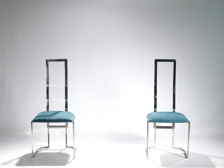 Set of 6 Hollywood Regency Italian Lucite Green Chairs, 1970s For Sale 1