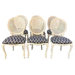 Set of 6 Hollywood Regency Rope and Tassel Dining Chairs