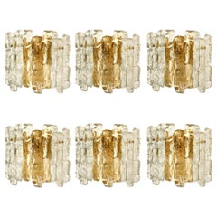 Set of 6 Ice Glass Wall Sconces with Brass Tone by J.T. Kalmar, Austria