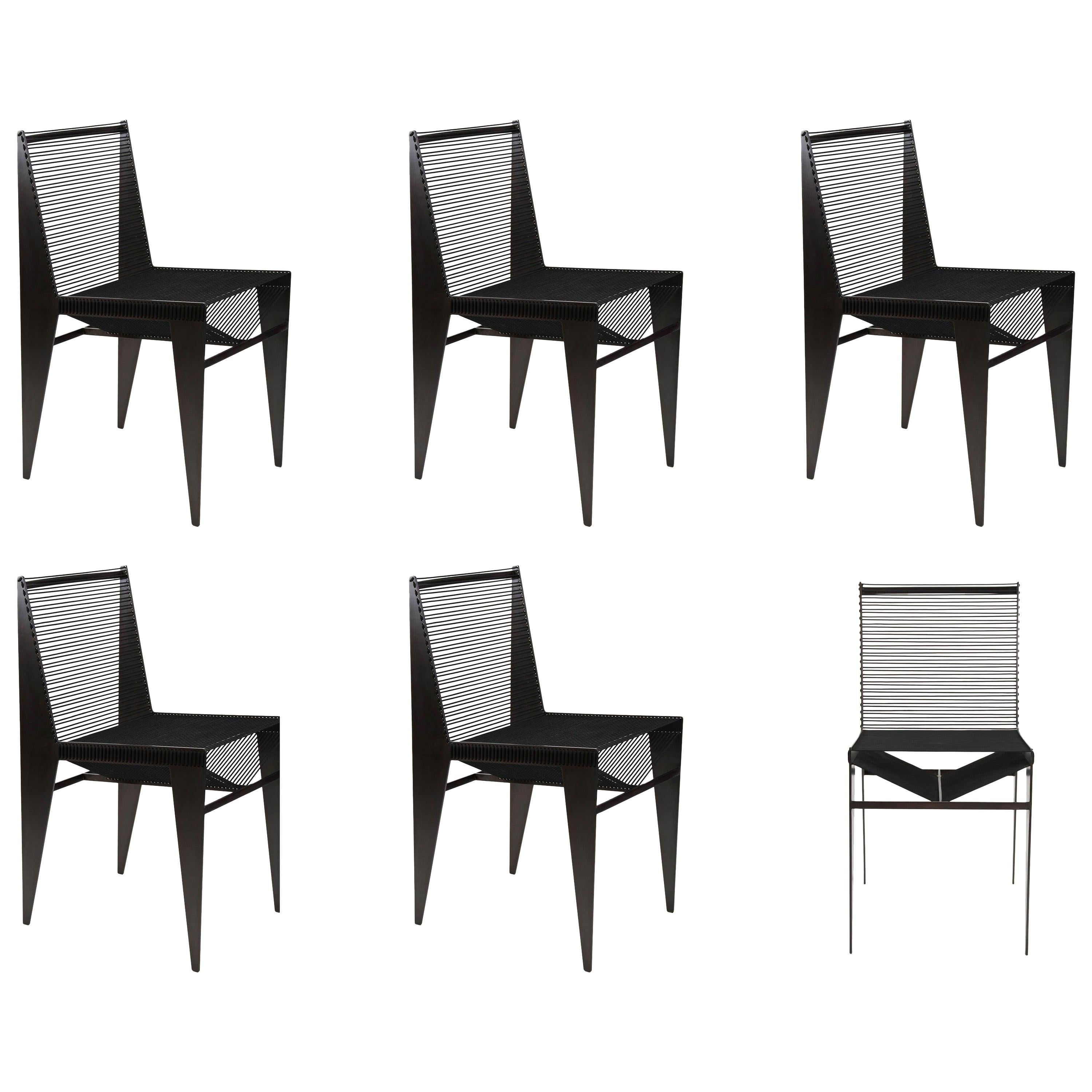 Set of 6, ICON Chairs, 2020, Steel and Rope by Christopher Kreiling