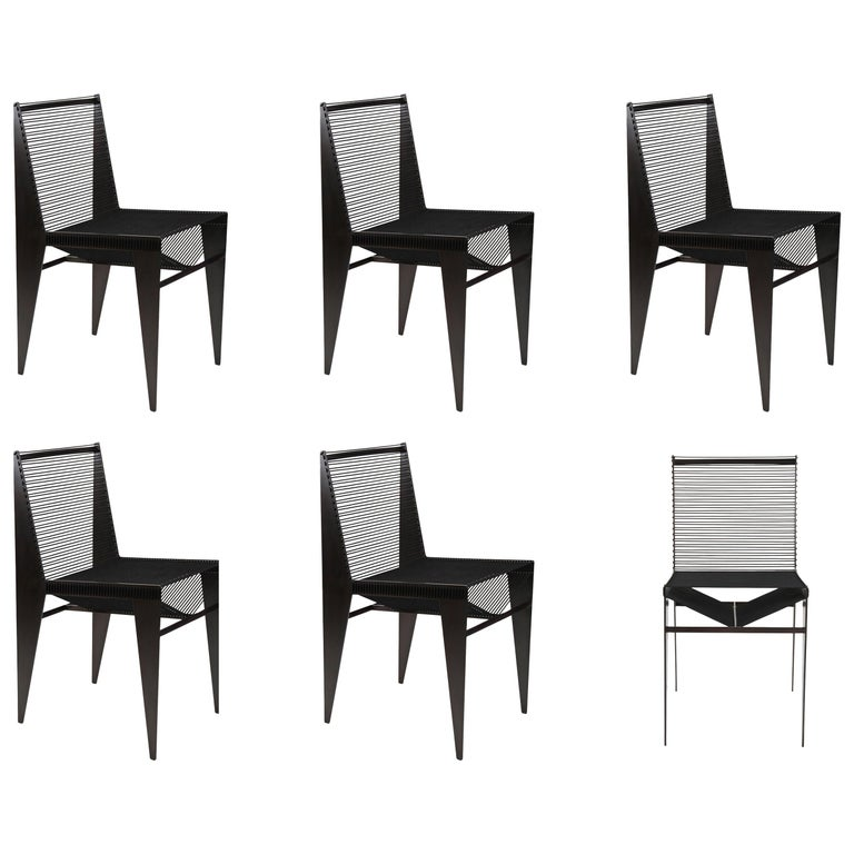 Set of 6, ICON Chairs, 2020, Steel and Rope by Christopher Kreiling For Sale