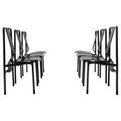 Set of 6 'Irma' Midcentury Black Chairs by Achille Castiglioni for Zanotta, 1970