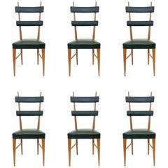 Set of 6 Italian 1950s High Back Dining Chairs