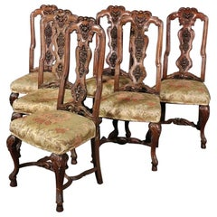 Set of 6 Italian Antique 1890s Era Carved Walnut Tall Back Dining Chairs