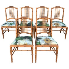Set of 6 Italian Bamboo Dining Chairs Newly Upholstered in Floral Fabric, 1950s